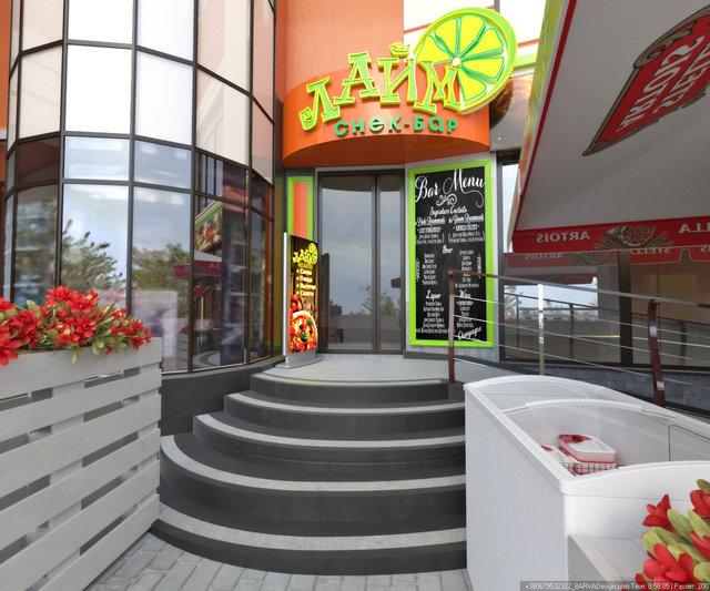 Дизайн летней площадки кафе. Дизайн логотипа. Дизайн вывески и лайтбокса