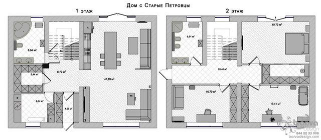 Планировка двухэтажного дома в с.Старые Петровцы