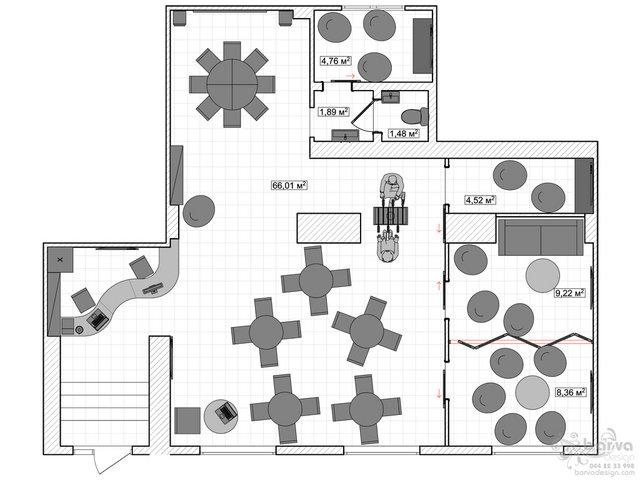 Дизайн антикафе. План з розміщенням меблів