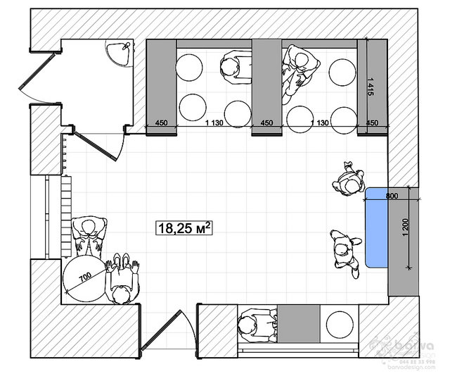 Дизайн интерьера кафетерия. План помещения