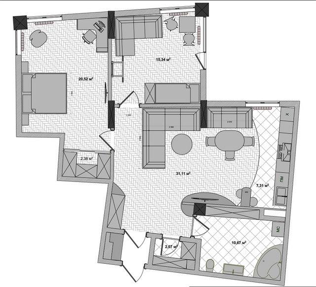 """План с расположением мебели 3к-квартиры ЖК """"Сонячна Брама"""""""