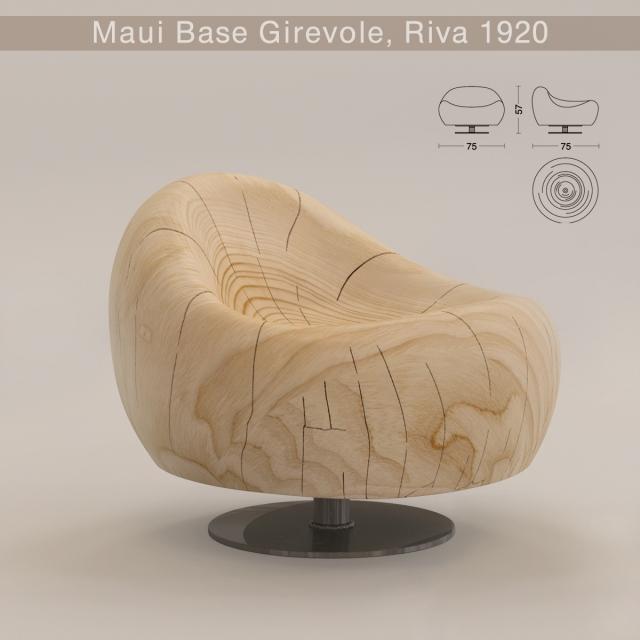 3D модель крісла Maui Base Girevole від італійського виробника Riva 1920