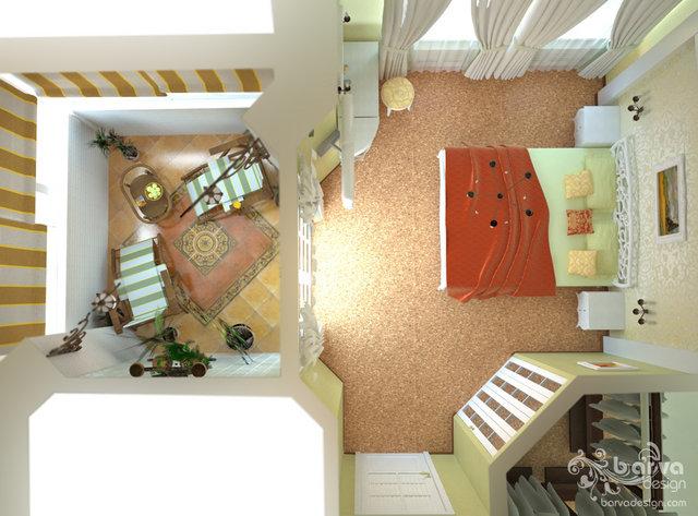 Дизайн спальни и зимнего сада в стиле прованс.3 этаж таунхауса в п.Томилино