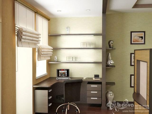Зеленый вариант дизайна спальни в квартире на ул.Ломоносова. Яркий интерьер