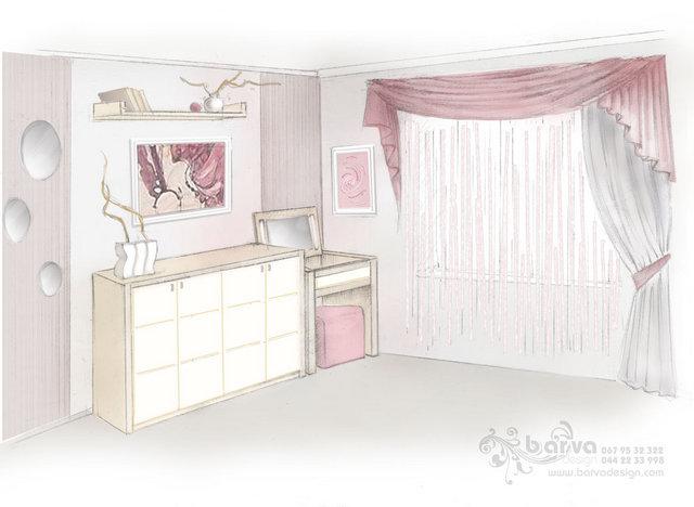 Эскиз спальни в цвете