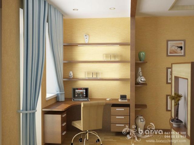 Голубой вариант дизайна спальни в квартире на ул.Ломоносова. Яркий интерьер