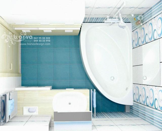 """Дизайн ванной в квартире по ул.Лаврухина. """"Полосатый"""" интерьер"""