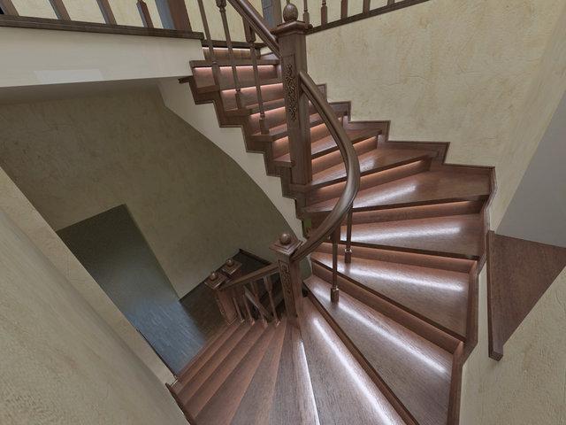 3d модель сходів з перилами