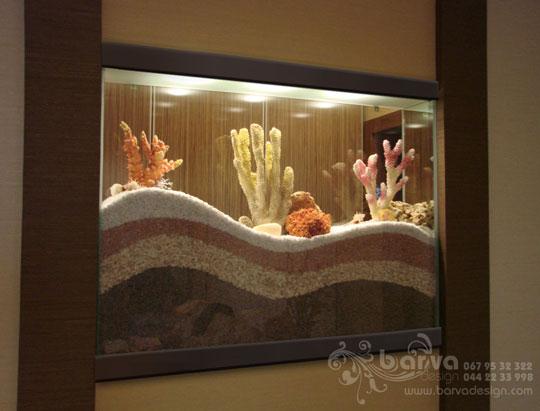 Сухой аквариум в сквозной нише, дизайн интерьера