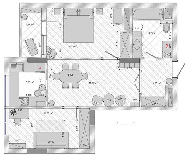 2 варіант перепланування, перепланування квартири в новобудові