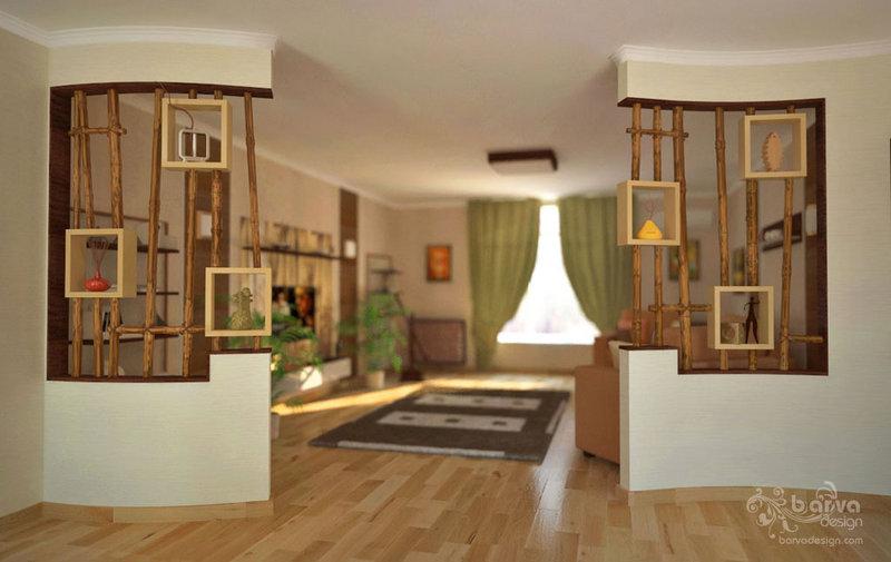Декорование сквозных ниш, бамбуковые полки, дизайн интерьера гостиной