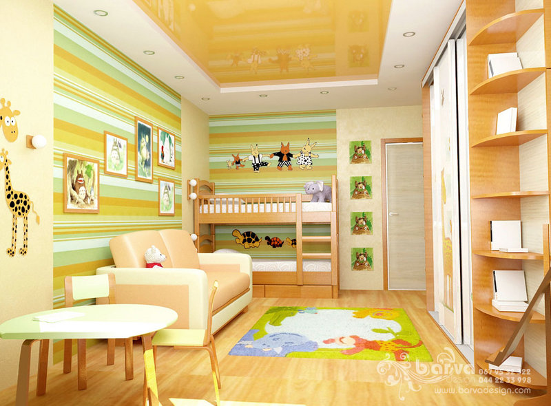 Дизайн дитячої кімнати для двох дітей, вінілові наклейки, інтер'єрні стікери