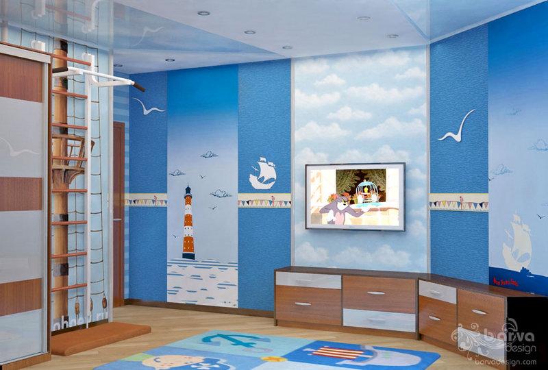 Дизайн дитячої кімнати в морському стилі, вінілові наклейки, інтер'єрні стікери