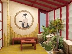 Мозаичное панно в зимнем саду, дизайн зимнего сада в японском стиле