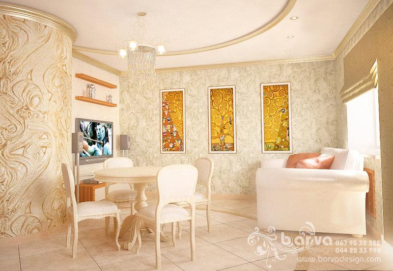 Дизайн вітальні в стилі арт-деко, лакові картини