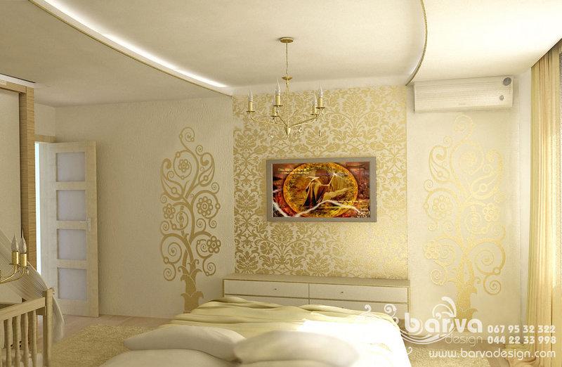 Дизайн спальні в кв. по вул.Урловській, вінілові наклейки, інтер'єрні стікери
